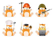 Satz Katzen von verschiedenen Berufen Lizenzfreie Stockbilder