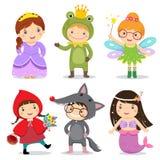 Satz Kinder, die im Märchenthema tragen stock abbildung
