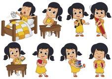Satz Kindertätigkeit, Kind denken, wachen auf und halten einen großen Bleistift, essen s lizenzfreie abbildung