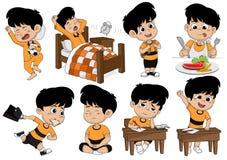 Satz Kindertätigkeit, Kind wachen auf, schlafen, essen, gehen zur Schule und lernen stock abbildung