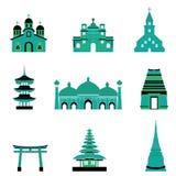 Satz Kirchen-Tempel-Moscheen-Religions-Gebäude und Architektur Stockfotos