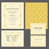 Satz klassische Hochzeitseinladungen Lizenzfreies Stockfoto