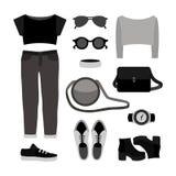 Satz Kleidung der einfarbigen modische Frauen mit Jeans, Spitze Stockfotografie