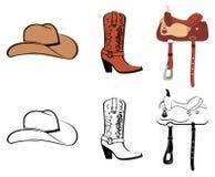 Satz Kleidung des Cowboys Stockbilder