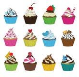 Satz kleine Kuchen in der Skizzenart Lizenzfreie Stockfotografie