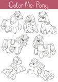Satz kleinen netten Ponys sieben Stockfoto