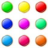 Satz Knöpfe in den verschiedenen Farben Stockbilder