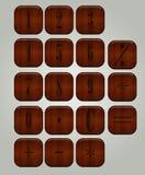 Satz Knöpfe für den Taschenrechner Stockbilder