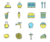 Satz Kochen und Küchenikonen Vektor Lizenzfreies Stockfoto