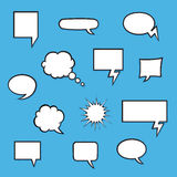Satz komische Blasen mit Halbtonschatten Stockbilder