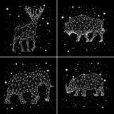 Satz Konstellationen Rotwild, Elefant, Nashorn, Bison Vektor Stockfotografie