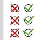 Satz Kontrollen und Kreuze stock abbildung