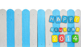 Satz Konzeptkarte Jahres 2014 gemacht vom Plasticine auf hölzernem Lizenzfreies Stockbild