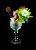 Satz Kosmetik im Kristallglas Stockbilder