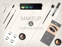 Satz kosmetisches Zubehör für Augenbraue und Make-up entwirft Lizenzfreie Abbildung