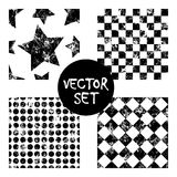 Satz kreative geometrische Schwarzweiss-Hintergründe der nahtlosen Muster des Vektors mit Quadraten, Sterne, Kreise Beschaffenhei Stockfotos
