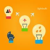 Satz kreative Glühlampen Stockfotografie