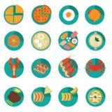 Satz kreative internationale Lebensmittel-Menü-Vektoren und Ikonen Lizenzfreie Stockbilder