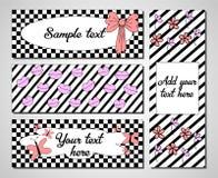 Satz kreative Vektoruniversalitätskarten Hochzeit, Jahrestag, Geburtstag, Partei, Valentinsgrußtag, Heirat, Braut schwarzes Stockfotografie