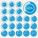 Satz Kreisdiagramme für Geschäft infographics Fortschrittsstange für Webdesign Elemente 3d Infographic Weiße und blaue Art Stockbild