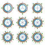 Satz Kreisdiagramme mit vorgewähltem Bruch, beigeordneten Linien und Aufklebern Sektoren-infographics Elemente in der Ebene Vekto Stockbilder