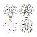 Satz Kreislinien und Farbpunkte Kreispseudografikmuster, dashed line Kräuselungen Geometrisches Element, konzentrisch, radiatin lizenzfreie abbildung