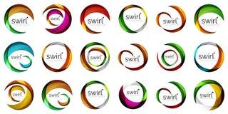 Satz Kreisnetzpläne - digitales techno runde Formen - Netzfahnen, -knöpfe oder -ikonen mit Text Glatte Strudelfarbe Stockfotografie