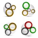 Satz Kreisnetzpläne - digitales techno runde Formen - Netzfahnen, -knöpfe oder -ikonen mit Text Glatte Strudelfarbe Lizenzfreies Stockbild