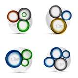 Satz Kreisnetzpläne - digitales techno runde Formen - Netzfahnen, -knöpfe oder -ikonen mit Text Glatte Strudelfarbe Lizenzfreies Stockfoto