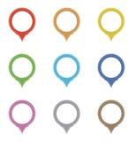 Satz Kreiszeiger in den Farben des Regenbogens Stockfoto