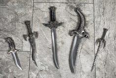 Satz Kriegs-Messer Stockfoto