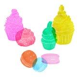 Satz Kuchen machte transparentes Aquarellschattenbild von den rosa, blauen, grünen, gelben und roten Farben Stockbild