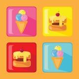 Satz Kuchen- und Eisikonen Stockbilder