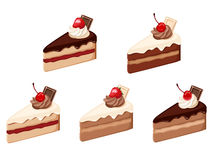 Satz Kuchenstücke. Stockbild