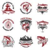 Satz Lachsfischenembleme Gestaltungselemente für Logo, Aufkleber, Stockfotos