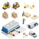 Satz Lagerausrüstung Flache Elemente des Versands und der Lieferung Arbeitskraftkastengabelstapler- und -frachttransport Stockfotos