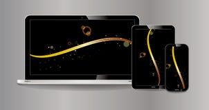 Satz Laptop, Tablette, Smartphone mit lcd-Anzeige mit klarer Anzeige und modernes Design-lokalisiertes Grau vektor abbildung