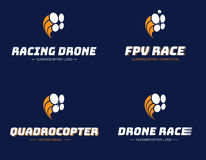 Satz laufenden quadrocopter Logos Stockbilder
