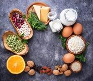 Satz Lebensmittel, das im Kalzium reich ist stockbilder