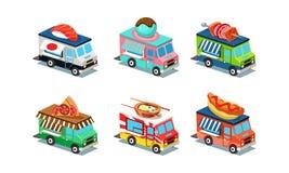 Satz Lebensmittel-LKWs in der modernen Art 3D Packwagen mit japanischer Küche, Eiscreme, Pizza, Hotdog und Grill Flacher Vektor vektor abbildung