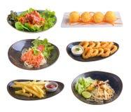 Satz Lebensmittel lokalisiert auf weißem Hintergrund stockfotografie
