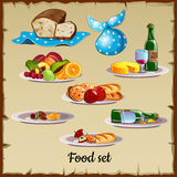 Satz Lebensmittel und Abfall Stockfotos
