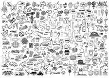 Satz Lebensmittel und Getränke kritzeln auf weißem Hintergrund Stockfotos