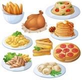 Satz Lebensmittelikonen lokalisiert auf weißem Hintergrund abendessen Lizenzfreies Stockbild