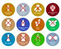 Satz Lebensmittelkennzeichnungen - Allergene, GMO geben Produkte frei Stockfoto