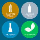 Satz Lebensmittelkennzeichnungen - Allergene, GMO geben Produkte frei Lebensmittel intolera Lizenzfreie Stockfotografie