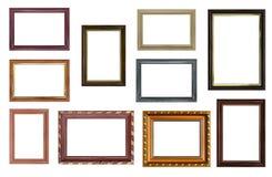 Satz leere Bilderrahmen mit freiem Raum nach innen, an lokalisiert Lizenzfreie Stockbilder