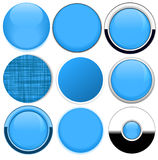 Satz leere blaue runde Knöpfe Stockfotografie