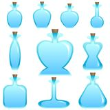 Satz leere Flaschen des Karikaturvektors unterschiedliche Form für ein Spiel Lizenzfreies Stockbild