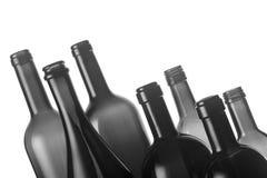 Satz leere Weinflaschen Stockfotos